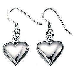 Elements Silver Puffed Heart Earrings