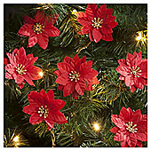 Poinsettia Christmas Tree Decorations, 10 pack