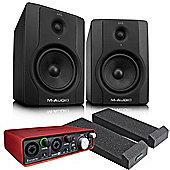 M-Audio BX5 Pair, Focusrite Scarlett 2i2, Monitor Isolation Pads, JB's Jack Leads - Studio Monitor Recording Package