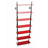 Techstyle Wall Mounted Glass and Chrome CD Media / Bathroom Storage Shelves - Red
