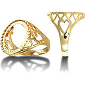 9ct Solid Gold Tenth Krugerand heart design coin mount Ring