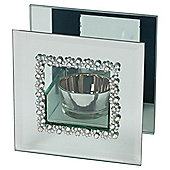 Glass Tealight Holder Diamante Single