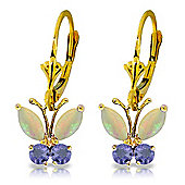 QP Jewellers Tanzanite & Opal Butterfly Earrings in 14K Gold