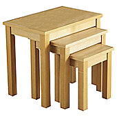 Home Essence Alexander Nest of Tables in Natural Oak Veneer