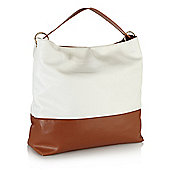 White and Tan Colourblock Shopper Bag