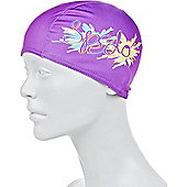 Speedo Printed Junior Polyester Swimming Cap - Purple