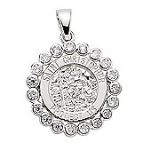Jewelco London Rhodium-Coated Sterling Silver St Christopher Pendant