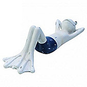 Frog - Sunbathing Male Shelf Sitter Ornament - White / Blue
