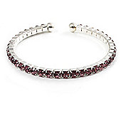 Lilac Crystal Thin Flex Bangle Bracelet (Silver Tone)
