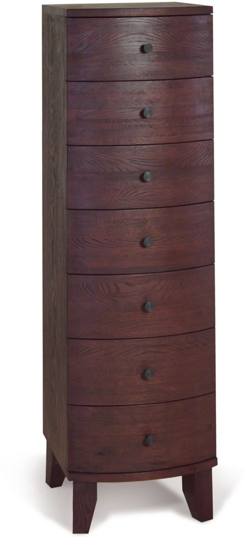 Oceans Apart Cordoba Walnut Seven Drawer Tall Chest - Dark Oak