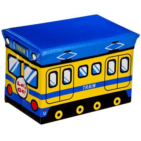buy train childrens storage box seat blue yellow. Black Bedroom Furniture Sets. Home Design Ideas