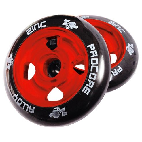 Pro Core 2 x 100mm CNC Cast Alloy High-Bounce Scooter Wheels, Red