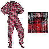 All in One Sleepsuits for Adults - Red and Black with Grey Hearts (Medium)