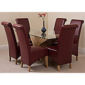Valencia Glass & Oak 160 cm Dining Table with 6 Burgundy Montana Leather Chairs
