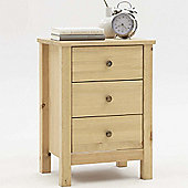Nature - Solid Wood 3 Drawer Bedside Cabinet - Light Stain