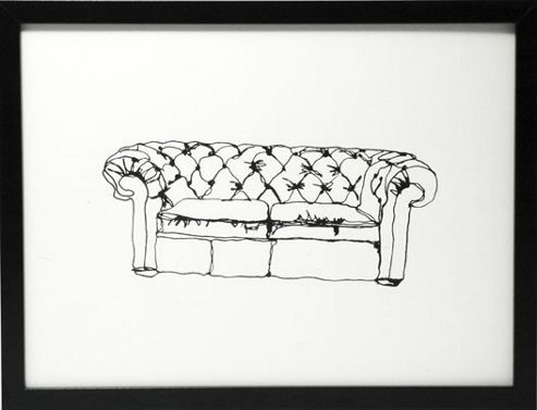 Hand printed chesterfield print