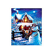 LED Christmas Canvas Scene Battery Operated Light Up Canvas Portrait Snowman