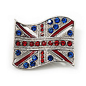 Union Jack Flag Silver Plated Crystal Brooch - 4cm Length