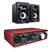 Focusrite Scarlett 2i2 Usb Interface & Alesis Elevate 5 Powered Speakers Bundle