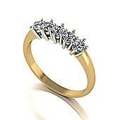 9ct Gold 5 stone Round Brilliant Moissanite Ring