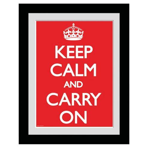 Keep Calm and Carry On Framed Print, 30x40cm