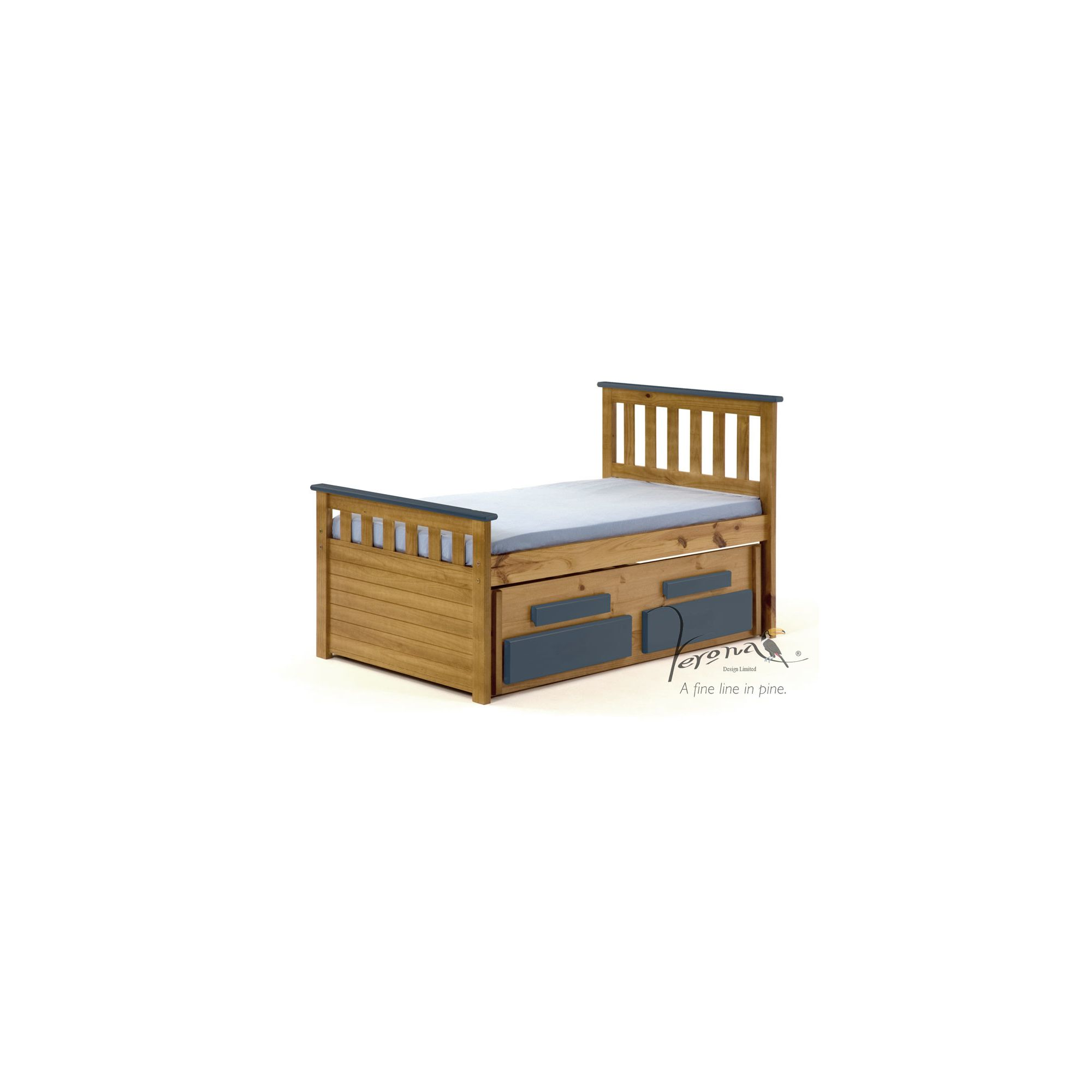 Verona Bergamo Kids Captains Bed with guest bed - Antique Blue at Tesco Direct