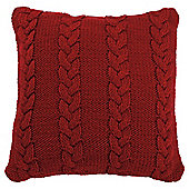 Cable Knit Cushion Red