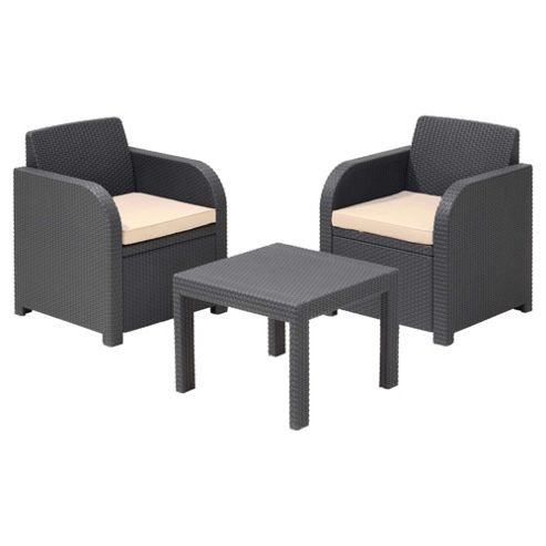 Allibert Atlanta Rattan Effect Garden Furniture Set, 3 Piece