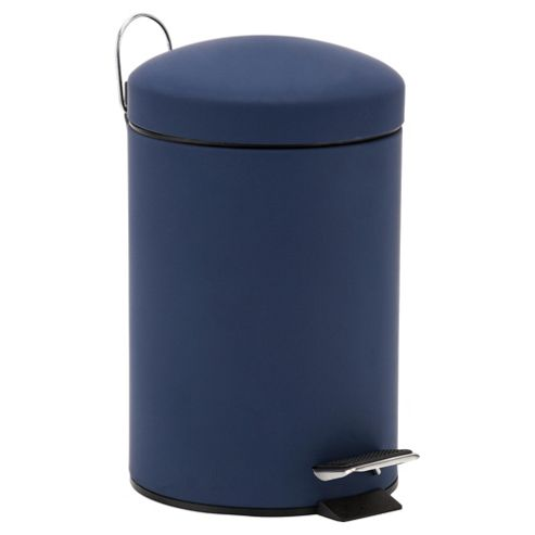 Tesco 3L Rubber Touch Blue Pedal Bin