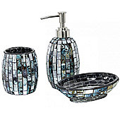 Sparkle - Mosaic Bathroom Set / Soap Dish / Dispenser / Beaker - Azure Blue