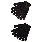 F&F 2 Pair Pack of Sparkly and Sequinned Touch Screen Gloves - Black