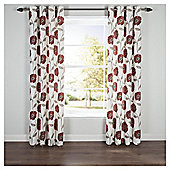 Poppy Floral Lined Eyelet Curtains - Red