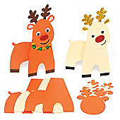 Reindeer Cards for Children to Design Make and Decorate for Christmas - Creative Xmas Craft for Kids (Pack of 6)