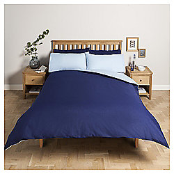 Tesco Basic Reversible Duvet Set KS - Navy/Breeze