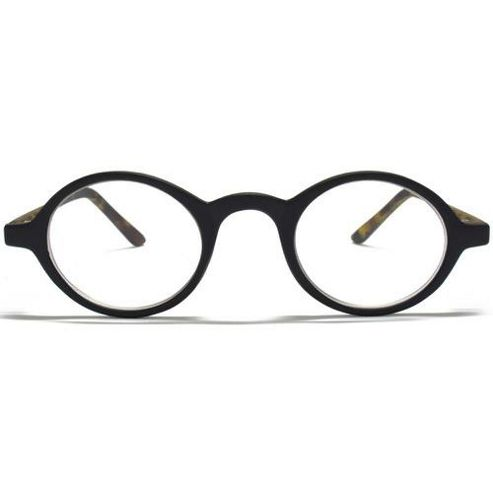 Glare Eyewear Small Round Reading Glasses in Black with Tortoiseshell Temple Arms
