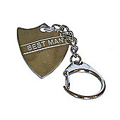 Pewter Wedding Best Man Shield Keyring