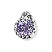 Jewelco London 9ct White Gold - Diamond & Amethyst - Charm Pendant -