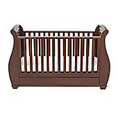 Babymore Bel Sleigh Cot Bed Dropside with Drawer (Brown)