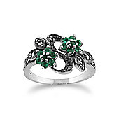 Gemondo Sterling Silver Art Nouveau 0.43ct Emerald & Marcasite Flower Ring