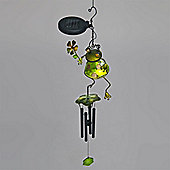 Garden Glows Solar Powered Green Glass Frog with Flower Wind Chime