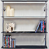 Maxwell - Wall Mounted Wide Glass Cd Dvd Storage Shelves - Black / Silver