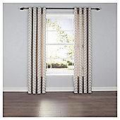 Chevron Eyelet Curtains - Taupe