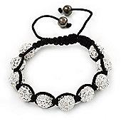Unisex Shamballa Bracelet Crystal White Swarovski Crystal Beads 10mm - Adjustable