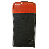 Tortoise™ Look Faux Leather Flip Case iPhone 4/4S Black/Orange