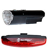 Black Widow High Five Front and Nightflare Rear Bike Light Set. (5 Super Bright LEDs on Both Front and Rear)