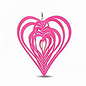 Bold Pink Heart Shaped Steel Garden Windspinner