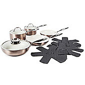 Tower 9 Piece Ceramic Pro Metallic Pan Set, Latte