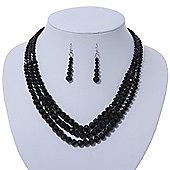Jet Black Multistrand Faceted Glass Crystal Necklace & Drop Earrings Set In Silver Plating - 44cm Length/ 6cm Extender