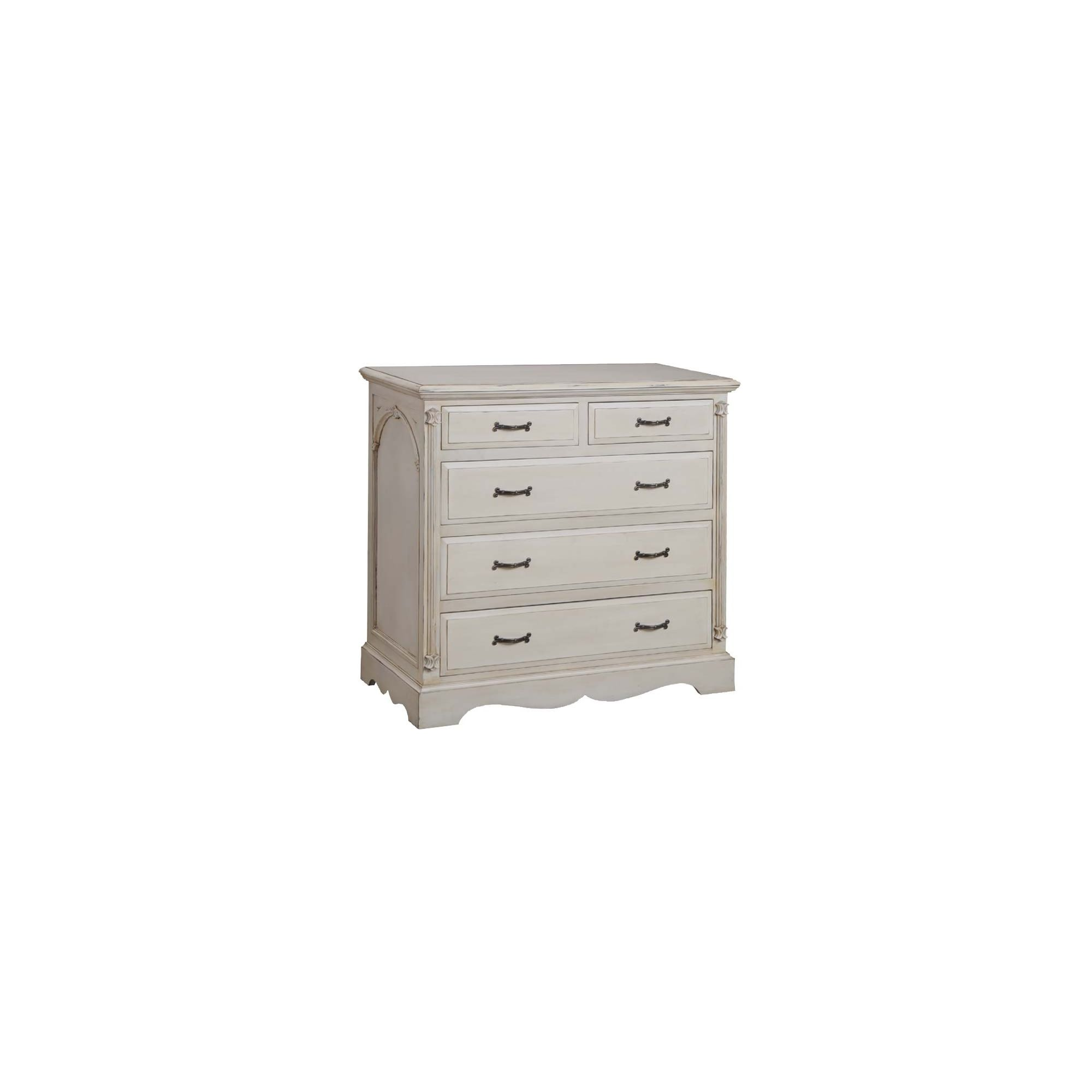 Thorndon Beverley Bedroom Five Drawer Chest in Distressed Ivory at Tesco Direct