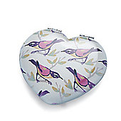Bird Print Heart Shaped Compact Mirror
